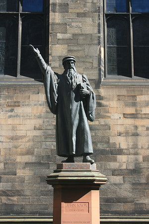 John Knox statue, New College quadrangle, Edinburgh.