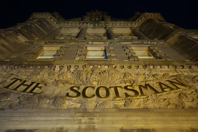The Scotsman Hotel at night, Edinburgh.