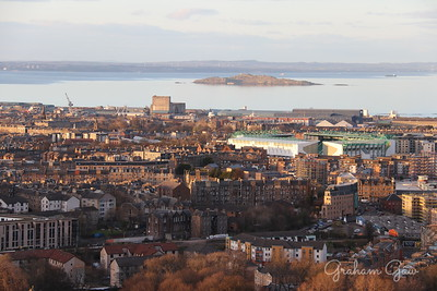 Easter Road Stadium and northeast Edinburgh in the evening
