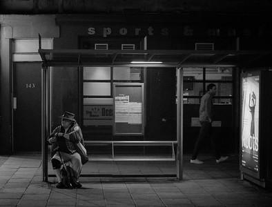 Late Night Bus Stop, Leith, Edinburgh.