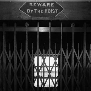 Beware Of The Hoist, At Georgian Antiques, Doors Open Day 2017, Leith, Edinburgh.