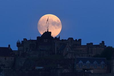 The Moon and Edinburgh Castle