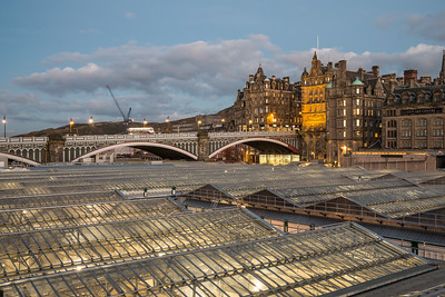 Waverley Station roof, lit up at night