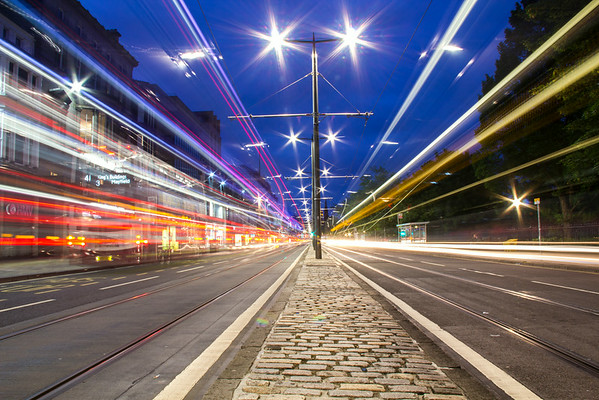 Light trails in Princess Street, Edinburgh