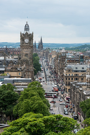 An overcast summer's day looking down Princes Street