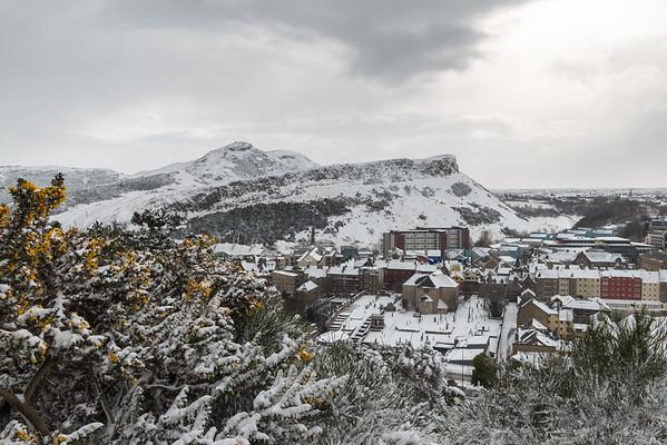 Snowy view towards Holyrood Park