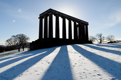National Monument of Scotland in the snow
