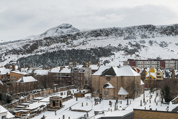 Snow over Canongate and Holyrood Park