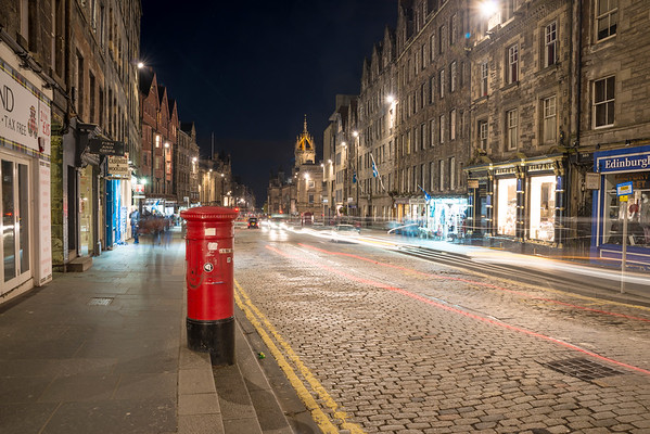 Light Trails at the top of the Royal Mile