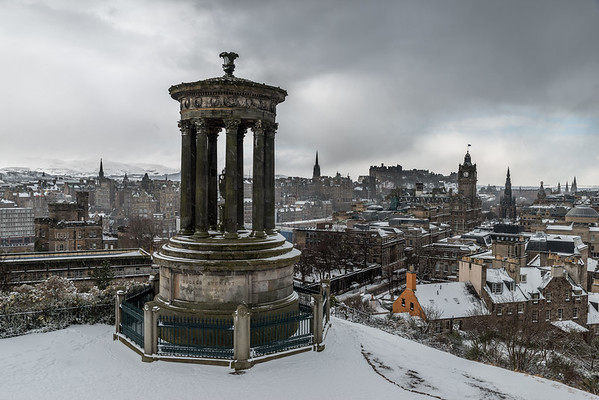 Dugald Stewart Monument in the snow