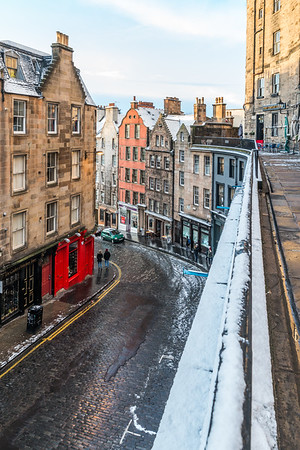 Victoria Street/ West Bow with a light covering of snow