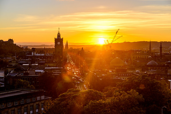 Sunset along Princes Street