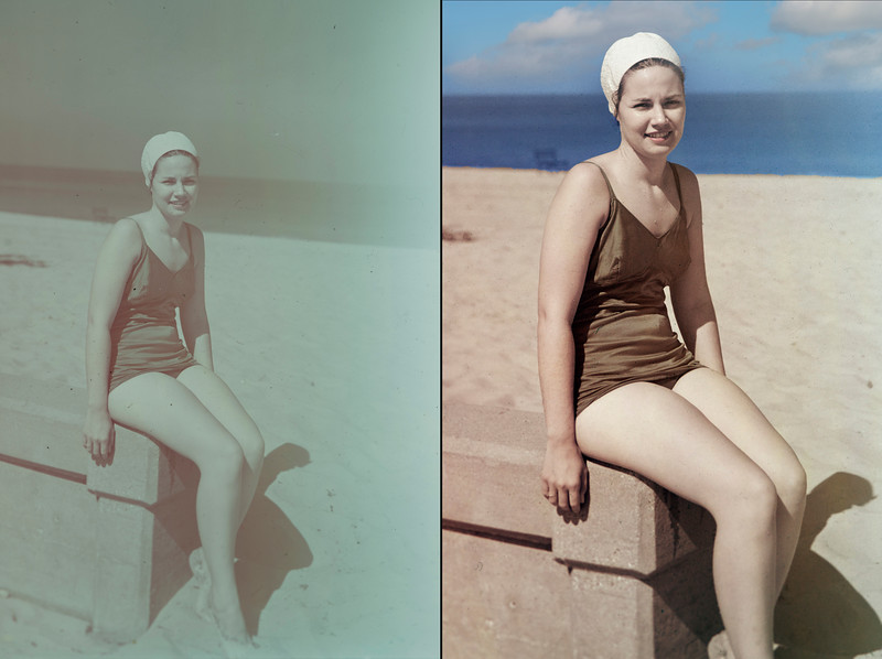 Basic service: Restore badly faded transparency from 1940s, straighten horizon, replace sky