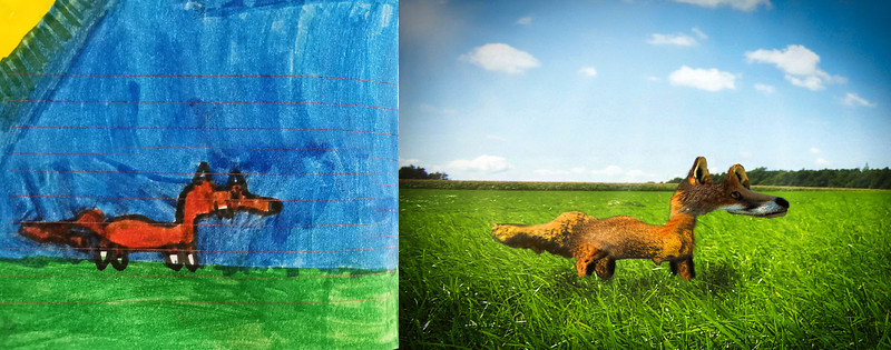 A composite based on one of my granddaughter's drawings.