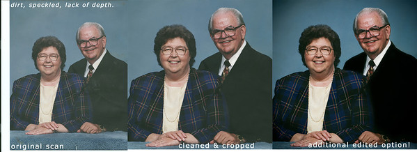 """The progression of scanned 8x10 - to fixed - to """"enhanced"""""""