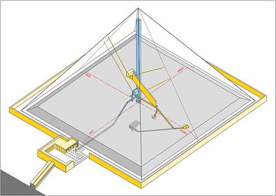 06 Das bisher bekannte, nordsüdlich ausgerichtete Kammersystem (gelb) und eine vermutete Ost-West-Verbindung vom Opferraum im Totentempel zur Königinnenkammer und zum senkrechten Schacht in der Pyramidenmitte (blau).