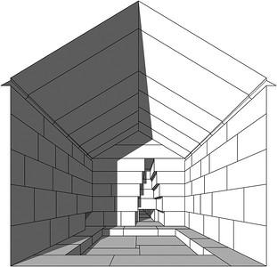 04 Innenraum der Königinnenkammer mit Rekonstruktion des verloren gegangenen Fußbodenoberbelags.