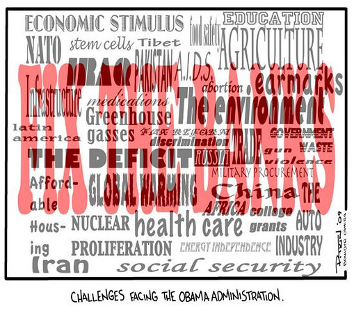 March 15, 2009 Hap Pitkin Editorial Cartoon - DailyCamera.com Boulder, CO<br /> <br /> Challenges facing the Obama Administration