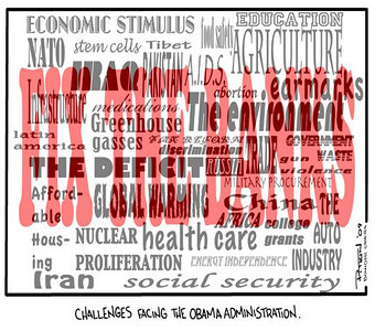 March 15, 2009 Hap Pitkin Editorial Cartoon - DailyCamera.com Boulder, CO  Challenges facing the Obama Administration