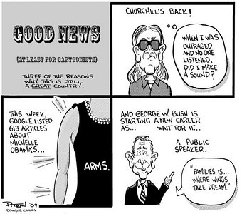 March 9, 2009 Hap Pitkin Editorial Cartoon - DailyCamera.com Boulder, CO  Good News (at least for cartoonists)