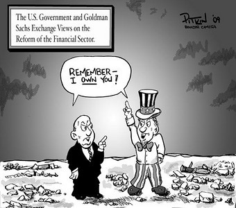 April 18, 2009 Hap Pitkin Editorial Cartoon - DailyCamera.com Boulder, CO The U.S. Government and Goldman Sachs Exchange Views on the Reform of the Financial Sector.