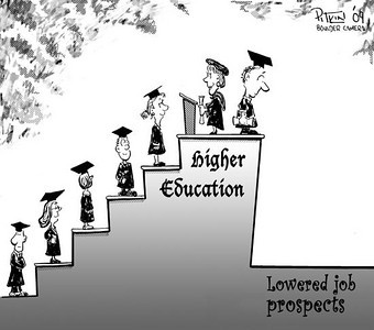 May 9, 2009 Hap Pitkin Editorial Cartoon - DailyCamera.com Boulder, CO  Higher Education - Lowered Job Prospects