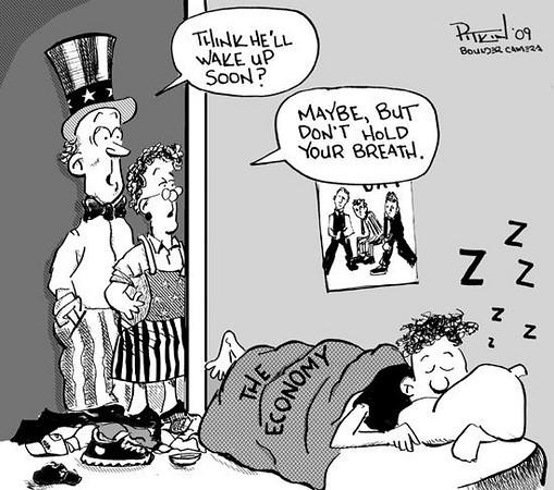 June 17, 2009 Hap Pitkin Editorial Cartoon - DailyCamera.com Boulder, CO<br /> The Economy