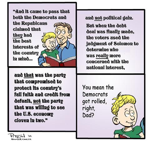 Aug. 2, 2011<br /> Hap Pitkin Editorial Cartoon<br /> Dailycamera.com Boulder, CO