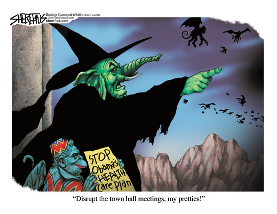 Aug. 9, 2009<br /> John Sherffius Editorial Cartoon<br /> Dailycamera.com Boulder, CO