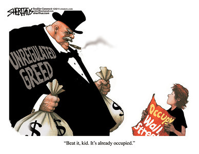 Oct. 9, 2011<br /> John Sherffius Editorial Cartoon<br /> Dailycamera.com Boulder, CO