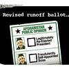 Nov. 4, 2009<br /> John Sherrfius Editorial Cartoon<br /> Dailycamera.com Boulder, CO<br /> Revised runoff ballot in Afghanistan