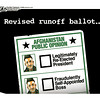 Nov. 4, 2009<br /> John Sherrfius Editorial Cartoon<br /> Dailycamera.com Boulder, CO<br /> Revised runoff ballot in Afghanistan
