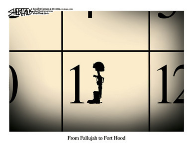 Nov. 11, 2009<br /> John Sherffius Editorial Cartoon<br /> Dailycamera.com Boulder, CO<br /> From Fallujah to Fort Hood