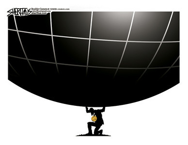 Oct. 11, 2009<br /> John Sherffius Editorial Cartoon<br /> Dailycamera.com Boulder, CO<br /> Obama's Nobel Peace Prize