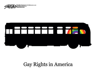 Oct. 13, 2009<br /> John Sherffius Editorial Cartoon<br /> Dailycamera.com Boulder, CO<br /> Gay Rights in America