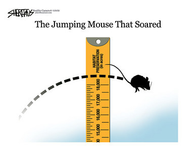 Oct. 10, 2009<br /> John Sherffius Editorial Cartoon<br /> Dailycamera.com Boulder, CO<br /> Preble jumping mouse