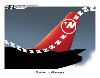 Oct. 24, 2009<br /> John Sherffius Editorial Cartoon<br /> Dailycamera.com Boulder, CO<br /> Northwest to Minneapolis