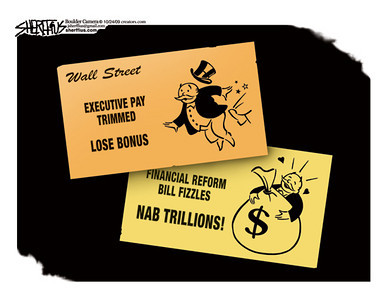 Oct. 27, 2009<br /> John Sherffius Editorial Cartoon<br /> Dailycamera.com Boulder, CO<br /> Executive Pay