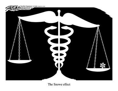 Oct. 15, 2009<br /> John Sherffius Editorial Cartoon<br /> Dailycamera.com Boulder, CO<br /> The Snowe Effect