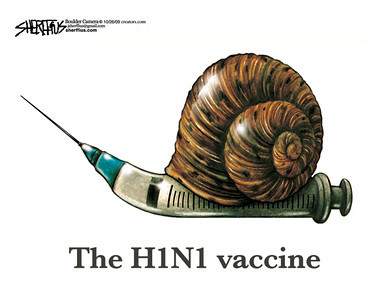 Oct. 28, 2009<br /> John Sherffius Editorial Cartoon<br /> Dailycamera.com Boulder, CO<br /> The H1N1 vaccine