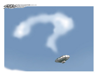 Oct. 18, 2009<br /> John Sherffius Editorial Cartoon<br /> Dailycamera.com Boulder, CO<br /> Balloon boy