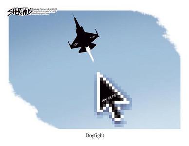 April 25, 2009 John Sheriffus Editorial Cartoon - DailyCamera.com Boulder, CO<br /> <br /> Dogfight