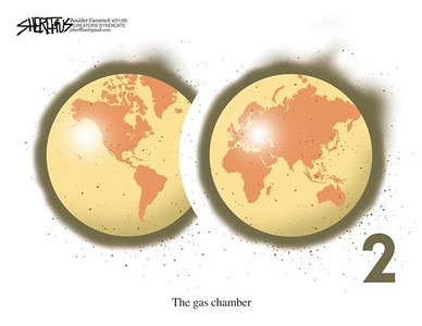 April 21, 2009 John Sheriffus Editorial Cartoon - DailyCamera.com Boulder, CO<br /> <br /> The gas chamber