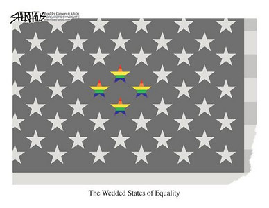 April 11, 2009 John Sheriffus Editorial Cartoon - DailyCamera.com Boulder, CO<br /> <br /> The Wedded States of Equality