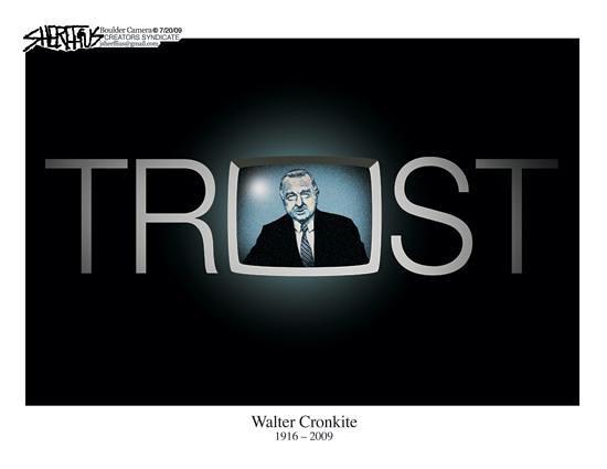 July 21, 2009 John Sheriffus Editorial Cartoon - DailyCamera.com Boulder, CO<br /> Walter Cronkite 1916-2009