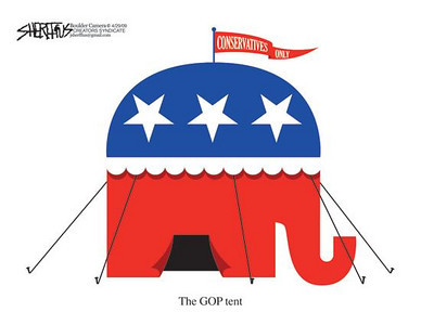May 1, 2009 John Sheriffus Editorial Cartoon - DailyCamera.com Boulder, CO<br /> The GOP tent