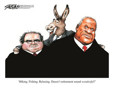 May 3, 2009 John Sheriffus Editorial Cartoon - DailyCamera.com Boulder, CO<br /> 'Hiking, Fishing, Relaxing. Doesn't retirement sound wonderful?'