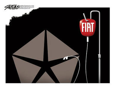 May 5, 2009 John Sheriffus Editorial Cartoon - DailyCamera.com Boulder, CO<br /> Chrysler - Fiat