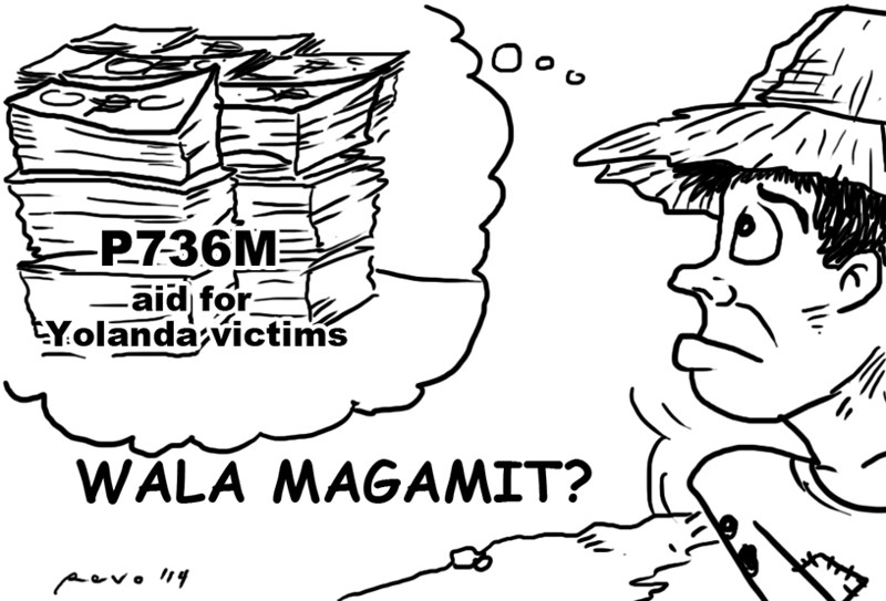 Sun.Star Bacolod editorial cartoon on unused Yolanda aid