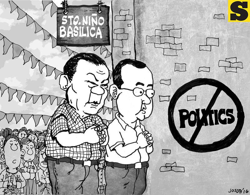Editorial cartoon - Rodrigo Duterte and Alan Peter Cayetano visits Sto. Nino church in Cebu